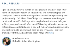 It's About Time client testimonial